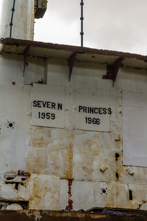 CHEPSTOW – APRIL 6: Bridge of derelict Car Ferry The Severn Princess. Used to take cars and passengers across the Bristol Channel before the Severn Crossing opened in 1966.