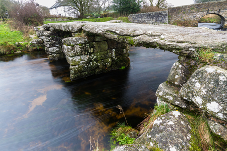 Fine example of Clapper Bridge. Postbridge, Dartmoor, Devon, England, United Kingdom.