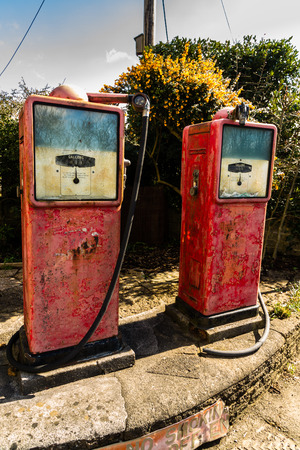 fuelling pump: Two old derelict petrol pump, no logo. Stock Photo