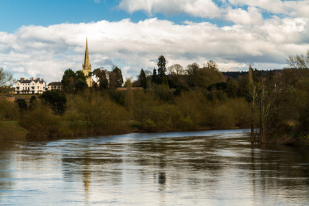View from Wilton over the River Wye to Ross on Wye and spire of St Marys Church. Herefordshire, England, United Kingdom.