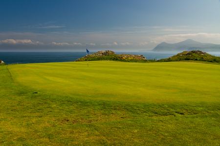 Clifftop putting green Nefyn & District Golf Club, Morfa Nefyn, Llyn Peninsula, Gwynedd, Wales, United Kingdom