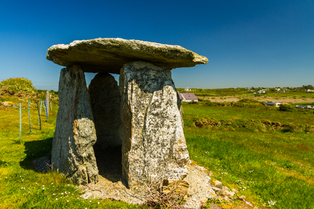 apparent: Probably a folly, this apparent burial chamber is at Rhoscolyn, Anglesey, Wales, United Kingdom, Europe Stock Photo