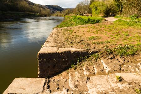 Old Quayside on the River Wye, Brockweir, Gloucestershire, England, United Kingdom.