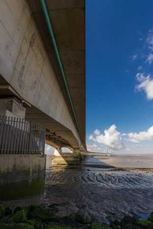 The Second Severn crossing is a bridge that carries the M4 motorway over the Bristol Channel or River Severn Estuary between England and Wales, United Kingdom. Morning light from the east. Stock Photo