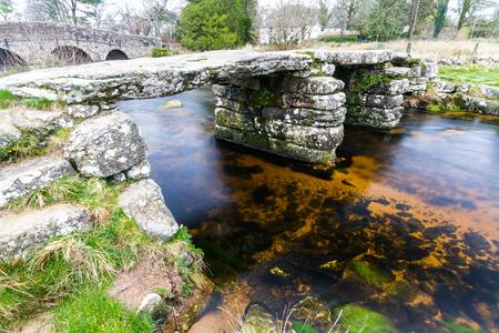 Fine example of Clapper Bridge. Postbridge, Dartmoor, Devon, England, United Kingdom.