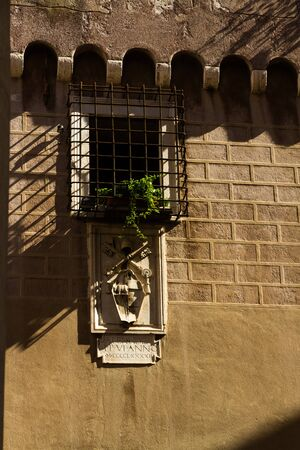 iron barred: Barred window in The Vatican with long shadows