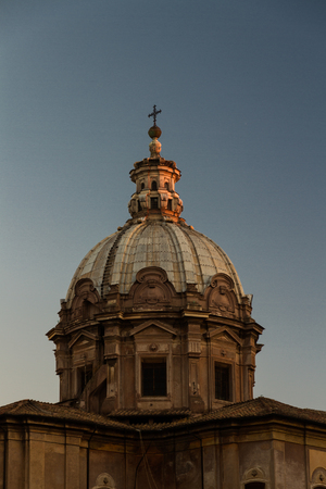 Dome of the Santi Luca e Martina in Rome at Sunset.