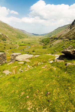 View of Nant Ffrancon Pass. Idwal Cottage, Snowdonia National Park, Gwynedd, Wales, United Kingdom. Stock Photo