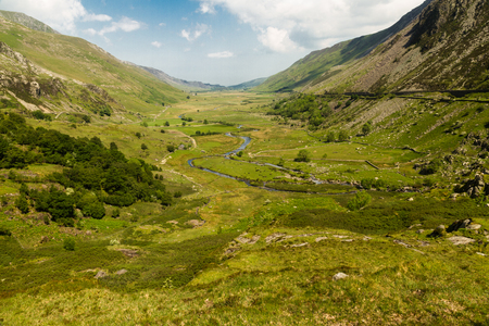 bethesda: View of Nant Ffrancon Pass. Idwal Cottage, Snowdonia National Park, Gwynedd, Wales, United Kingdom. Stock Photo