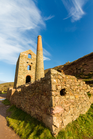 mine site: Towanroath Shaft Engine House part of Wheal Coates Tin Mine. St Agnes, Cornwall, England, United Kingdom.