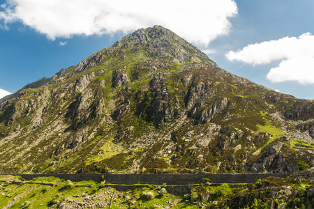 View from Idwal Cottage of mountain Pen yr Ole Wen. Idwal Cottage, Snowdonia National Park, Gwynedd, Wales, United Kingdom. Stock Photo