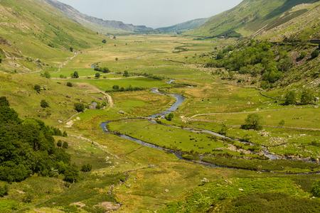 View of Nant Ffrancon Pass. Idwal Cottage, Snowdonia National Park, Gwynedd, Wales, United Kingdom. Stock Photo