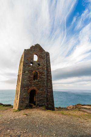 Ruined beam engine house for Wheal Coates Tin Mine. St Agnes, Cornwall, England, United Kingdom.