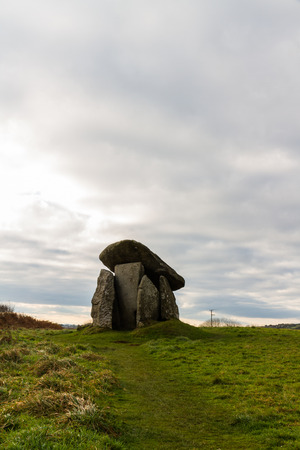 Trethevy Quoit or the Giants House. Liskeard, Cornwall, England, United Kingdom. Copyspace at top.