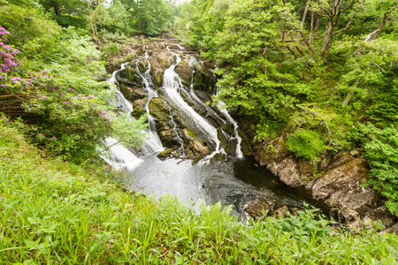 Part of the Swallow Falls in Snowdonia National Park. Betws y Coed, Gwynedd, Wales, United Kingdom. Stock Photo