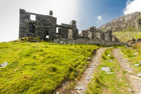 Ruined Barracks of slate mine. Cwmorthin, Bleneau Ffestiniog, Gwynedd, Wales, United Kingdom.