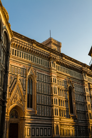 Florence Cathedral or Cattedrale di Santa Maria del Fiore, in Florence, Italy, evening Stock Photo