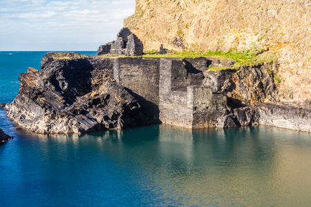 Old Slate Quarry called the Blue Lagoon, Abereiddy, Pembrokeshire, Wales, United Kingdom. Stock Photo