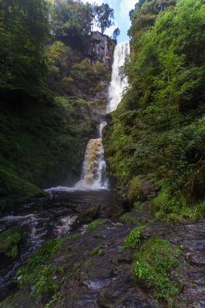 The pistyll rhaeadr waterfall in North Wales, United Kingdom. Stock Photo