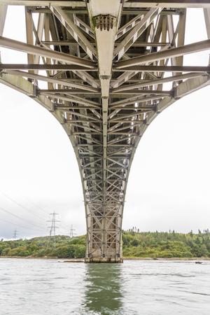 Underside of the Britannia Bridge, over the Menai Strait between Gwynedd and Anglesey. North Wales, United Kingdom.