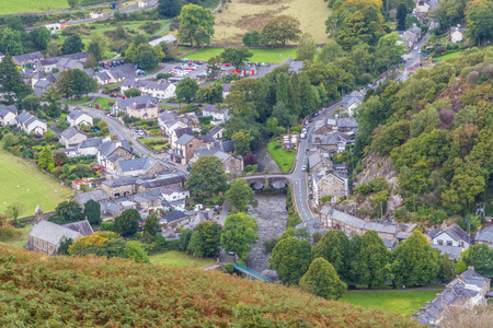 Village of Beddgelert, seen from above, Snowdonia, North Wales, United Kingdom