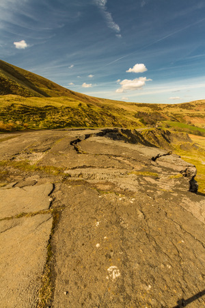 Road closed and destroyed by landslip, A625. Mam Tor, Peak District National Park, Derbyshire, England, UK