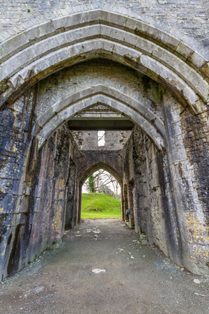 Gateway of St Quentins Castle, Llanblethian, South Wales. Editorial