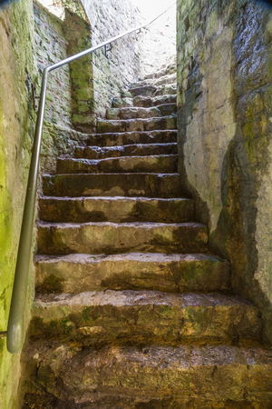 Stone staircase leading upwards in castle