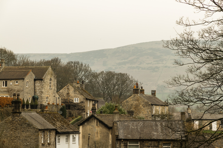 Stone cottages in Peak District Village of Castleton, Derbyshire, England, United Kingdom.