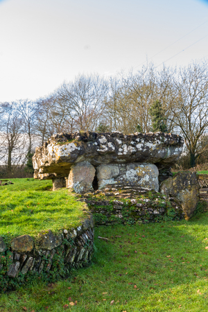 Tinkinswood Burial Chamber,  chambered long cairn. South Wales, United Kingdom.