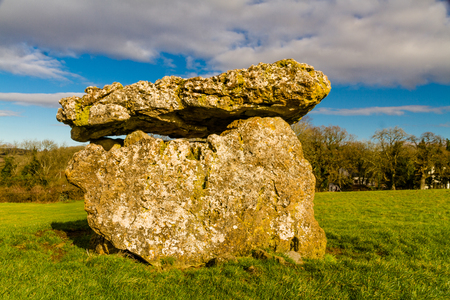 St Lythans Burial Chamber, also called gwal-y-filiast, chambered long cairn. South Wales, United Kingdom. Stock Photo