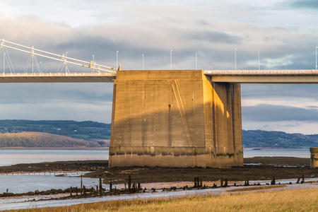 Concrete gravity anchorage for cables on the Old Severn Bridge, United Kingdom. Stock Photo
