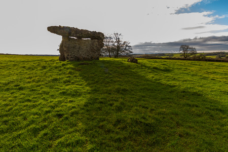 St Lythans Burial Chamber, also called gwal-y-filiast, chambered long cairn. South Wales, United Kingdom. Copyspace. Stock Photo