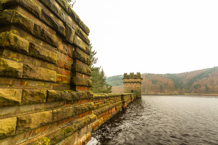 Derwent Dam and  Ladybower reservoir. Near Sheffield, in Peak District, Derbyshire, England, United Kingdom.