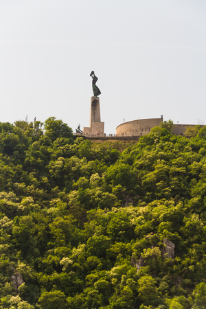 View of Liberty or Freedom Statue in Budapest, Hungary, with copyspace