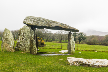 Pentre Ifan Burial Chamber, Chambered tomb portal dolmen. Near Newport, Pembrokeshire, Wales, UK Stock Photo