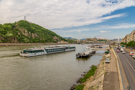 Budapest, Hungary – April 24 Bank of River Danube with boats on April 24 2018 in Budapest.