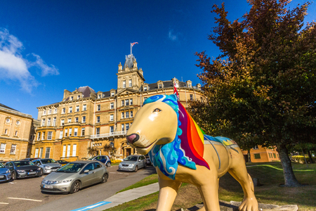 Bournemouth, United Kingdom – Bournemouth Town Hall with Pride of Bournemouth Lion Statue on September 21 2018 in Bournemouth Editorial