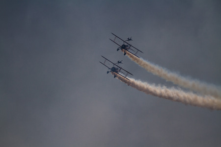 Bournemouth, United Kingdom – Bournemouth Air Festival 2018 The Aero SuperBatics Wingwalkers two areoplanes  on September 2 2018 in Bournemouth.