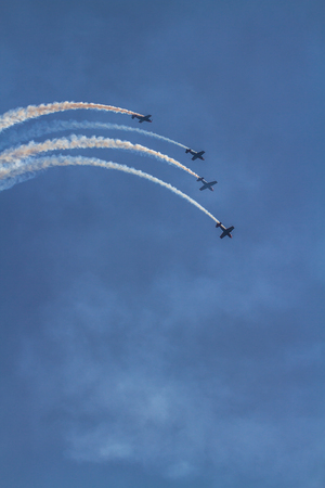 Bournemouth, United Kingdom – Bournemouth Air Festival 2018 The Blades Display Team show aeroplane on September 2 2018 in Bournemouth.