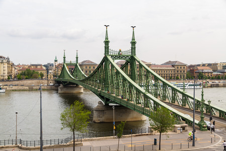 Budapest, Hungary – April 24 Liberty or Freedom Bridge on the River Danube on April 24 2018 in Budapest.