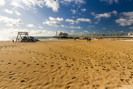 Bournemouth, United Kingdom – Bournemouth beach, pier and Zip Wire on September 21 2018 in Bournemouth. Editorial