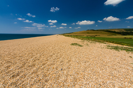 Gravel beach at the end of the Gravel Bank, Abbotsbury, Dorset, England, UK. Stock Photo