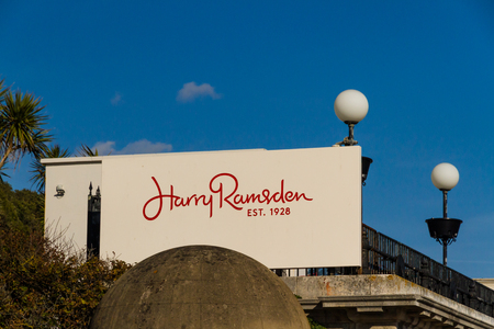 Bournemouth, United Kingdom  – Sign for Harry Ramsden Fish and Chips Restaurant  September 29 2018 in United Kingdom. Editorial