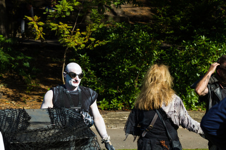 Character from Bournemouth, United Kingdom  – Mad Max Prams at Bournemouth Arts By The Sea Festival  September 29 2018 in United Kingdom. Editorial