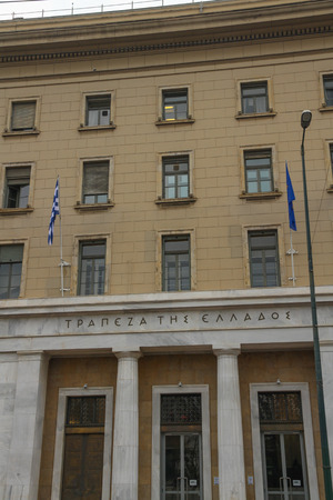 Athens, Greece – October 28 Athens Front of main Bank of Greece building on October 28 2018 in Greece.