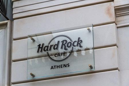 Athens, Greece – October 27, 2018:  Hard Rock Cafe Sign.
