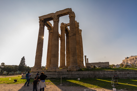 Athens, Greece – Temple of the Olympian Zeus, Athens, Greece with tourists on October 24 2018 in Greece. Editorial