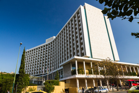 Athens, Greece � October 24 The Hilton Athens Hotel on October 24 2018 in Greece. Editorial