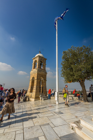 Athens, Greece � October Mount Lycabettus Viewing Area and Church of St George with tourists on October 24 2018 in Greece. Editorial